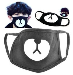 2020 mascarillas de alta moda Alta calidad de moda Lucky Bear negro boca máscara Kpop Chanyeol mismo estilo Anti-polvo lindo boca cara respirador rebajas mascarillas de alta moda