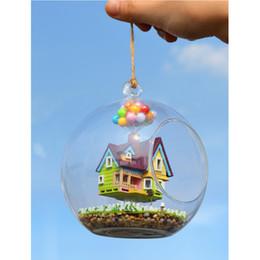 Wholesale Mini House Kits - Assembling DIY Miniature Model Kit Mini Dollhouse Wooden Buildings Named Flying House Romance Gift for Girl