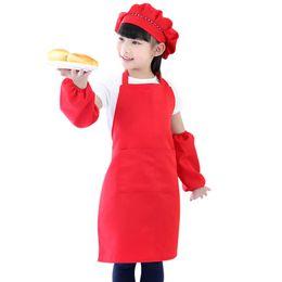 2020 grembiuli infermieristici 4 pezzi / set grembiule da cucina per bambini cappello maniche infermieristiche set ragazzi ragazze cucina cottura strumenti di cottura grembiuli per bambini bavaglini cucina grembiule grembiuli infermieristici economici