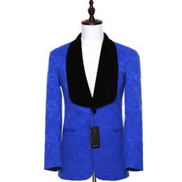 Wholesale Velvet Collar Suit - Royal Blue Men Business Suit Jackets Sets Slim Fit Floral Pattern Bridegroom Tuxedo Coat Black Velvet Ship Collar Lapel CUSTOM..