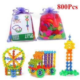 Crianças brinquedos de construção de plástico on-line-800 pcs blocos de construção de plástico do floco de neve 3d puzzle jigsaw modelo de construção diy montagem classic toys brinquedos educativos para crianças