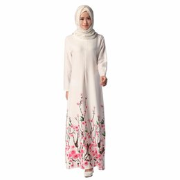 2019 vestidos étnicos nuevos Nuevo 2016 Ethnics musulmán para mujer moda Floral vestido Abaya Dubai vestido de estilo islámico de manga larga de las mujeres una línea de vestidos rebajas vestidos étnicos nuevos