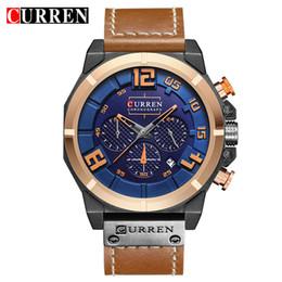 curren chronograph Rabatt CURREN 8287 Herrenuhren Top-Marken-Luxus-Chronograph Quarzuhren Männer 24 Stunden Datum Männer Sport Leder Armbanduhr Uhr