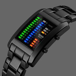 Черные часы вольфрама онлайн-Binary Sport Watches Men's Fashion LED Watch Electronic Silver Tungsten Black Steel Clock Waterproof Outdoor COOL Man Wristwatch
