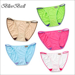 Wholesale Sexy Girl Lingerie Red - BllooBeell 5pcs Sexy Women's Underwear Panties Modal Briefs for Women Solid Low-Rise G string Seamless Lingerie Lady Girl Thong