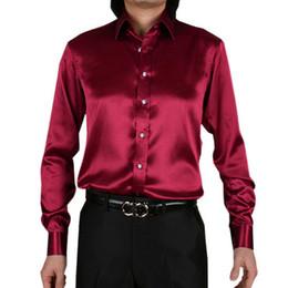 2019 homens vestindo camisas de cetim Atacado de Seda Como Cetim de Casamento Dos Homens de Cetim Elástico Camisa Noivo Camisas de Desgaste Noivo Slik Camisa Para Os Homens de Desempenho do Partido vestindo Camisas desconto homens vestindo camisas de cetim
