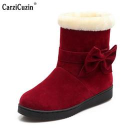 Wholesale fur snow footwear - Women Flat Half Short Boot Mid Calf Warm Winter Snow Boots Thickened Fur Plush Botas Fashion Footwear Shoes Size 34-40