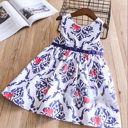 Wholesale Girls Ethnic Dresses - Everweekend Girls Bow Heart Print Ruffles Dress Lovely Kids Blue Color Clothes Princess Ethnic Style Spring Summer Holiday Dress