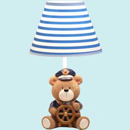 Wholesale Table Bedside Lamp Nightlight - Cartoon Resin Bear Captain Bedside Lights Creative Fashion Nightlight Girl Boy Study Room Table Lamp Bedroom Table Light TL138