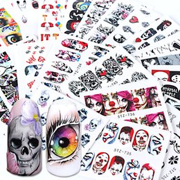 nail water decals black Coupons - 24pcs Black Skull Nail Wraps Water Decals Red Sliders Halloween Eyes Clown Zombie Decoration Manicure Tools Tattoo BESTZ731-755