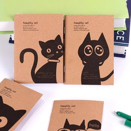 Blocco note del gatto online-1PC Mini Kawaii Cat e Circus Journal Diario Notebook Blank Kraft Paper Vintage Retro Notepad Book for Kids Regalo di cancelleria