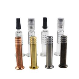 2019 metal tordu Seringues en verre colorées avec piston à torsion métallique 1 ML Luer Lock Head avec marque de mesure pour récipients d'huile épais