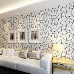 projetos de fundo de tv Desconto Preto Branco Padrão Geométrico Não-tecido Papel De Parede Modern Art Design Sala de TV Fundo Papel De Parede Para O Quarto Paredes 3D