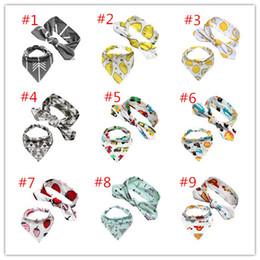 Wholesale Kids Costume Patterns - 13designs Baby headband 2ps sets DIY headband & Kids triangle bibs 0-3Y Girls cartoon animals fruits geometry patterns printing bibs costume