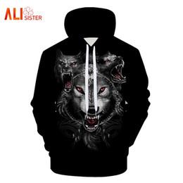 Красная глазка онлайн-Толстовки для мужчин 3d красные глаза свирепый волк печатных кофты уличная осень толстовка классический с капюшоном унисекс пуловер большой размер
