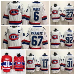 1464a6e5afe 2018 Montreal Canadiens 31 Carey Price 92 Jonathan 6 Shea Weber Drouin  Brendan Gallagher Galchenyuk Pacioretty 100th Classic Hockey Jersey