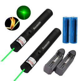 Wholesale Laser Green Pointer Battery - 2x Powerful 301 Green Laser Pen Pointer 5mw 532nm 50Mile Beam Light Military Burning Green Laser+18650 Battery+Charger