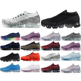 Wholesale Light Gray Red Sport Shoes - New Arrivals 2018 Men Vapormax Shock Racer Running Shoes all white black red gray red Top quality Fashion Casual Vapor Sports Running Shoes