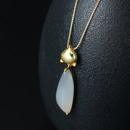 Wholesale Jade Pendant White - Fashion charm 18K Gold Plated 925 silver 100% lovable fox pendant female natural white jade pulp electroplating gold fox Necklace