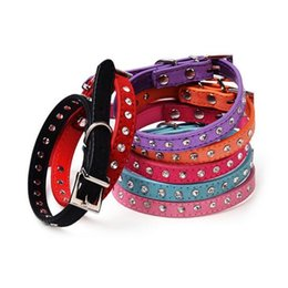 Wholesale Leather Diamond Dog Collars - CW015 Diamond crystal cool leather dog collars small dogs 7 colors cashmere cattle collars for pets cat dog leads cat collar