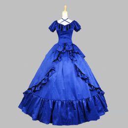 2019 vestidos vitorianos azuis curtos Alta Qualidade Azul De Cetim Manga Curta Gótico Vitoriano Steampunk Vestidos de Halloween Do Sul Belle Masquerade Vestido de Baile Para Gril vestidos vitorianos azuis curtos barato