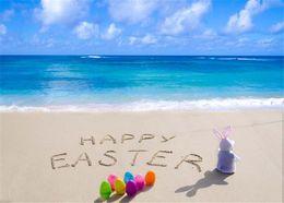 Wholesale Vinyl Sea Backdrop - Happy Easter Day Beach Photography Backdrop Vinyl Printed Colorful Eggs Rabbit Baby Newborn Photo Props Blue Sky Sea Background for Studio