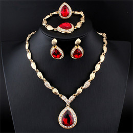 Wholesale Red Dress Earrings - Elegant 5PCS Women Jewelry Set Gold Silver Plated Drop Necklace Earring Bracelet Ring Whole Set For Wedding Dress Accessory