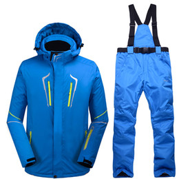 ski costumes Coupons - -30 Blue Man Snow suit sets outdoor snowboarding clothing waterproof winter Costumes skiing suit sets jackets + bibs pants