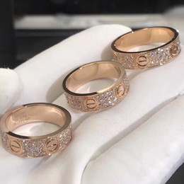 Wholesale diamond silver anniversary ring - New arrival Brand name 316L Titanium steel band ring with all diamonds lovers ring size for Women and Men jewelry gift Hot Sale PS7602