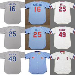 Wholesale R 16 - men youth 25 BUDDY BELL 16 DEAN PALMER 49 CHARLIE HOUGH Texas R 1986 Throwback home Away Jersey