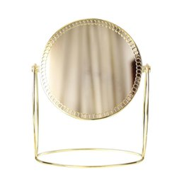 Высококачественные зеркала онлайн-Simple  Mirror Gold Nordic Style Double Sided Table Mirror High End Ladies Office Dormitory Desktop Round Mirror Tool