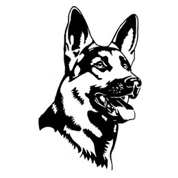 Lastwagen heckscheibenabziehbilder online-9,7 * 15,5 CM Schäferhund Alsation Hund Auto Aufkleber Persönlichkeit Vinyl Aufkleber Auto Styling Lkw Zubehör Schwarz / Silber ca-314