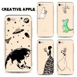 giraffe telefon fällen Rabatt Telefon case für iphone 5 5 s 6 6 s 7 8 plus x niedlich kreative apfel dinosaurier hippo giraffe weichen tpu silikon zurück abdeckung coque fundas + beschützer