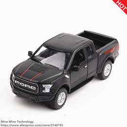 Wholesale Truck Yellow Lights - MINI AUTO 1:32 kids toys Ford F150 Pickup truck metal toy cars model for children music and light car gifts pull back for boys