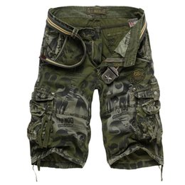 5d04d6c1607 Drop shipping Men s Camouflage Shorts 2018 Summer Army Cargo Shorts Workout  Loose Casual Trousers Plus size 29-40 No Belt