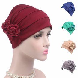 Wholesale Turban Muslim Hijab - 5Pcs Lot New Brand Fashion Women's Flowers Turban Hijab Hair Loss Cap Scarf Wrap Lady Muslim Turban Cap