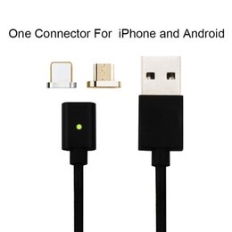 Wholesale Iphone Data Cable Black - 2 in 1 magnetic charging cable for Ios Android 2.4A micro usb data line charger adapter connector