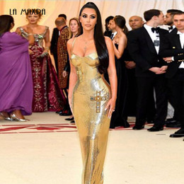 blu linda Sconti Summer Golden Women Dress Vestidos 2018 Open Back Spaghetti Belt Sequin Dress Maxi Long Celebrity Party Dres