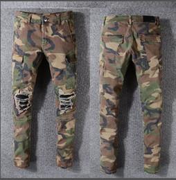 Jeans hiphop masculino on-line-Homens Denim Camouflage Bolsos Fino Jeans Motociclista Europeu Moda masculina Homens Novo Militar khaki Camo Calças De Carga HipHop Camuflagem