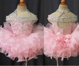 Wholesale infant toddler glitz pageant dresses - Pink Crystal Girls Pageant Dresses Sleeveless Organza Flower Girls Beads Cupcake Pageant Dresses Kids Toddler Glitz Prom Infant Ball Gowns