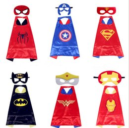 Wholesale Wholesale Superhero Capes For Kids - Newest Designer Scarf Double Side Superhero Cape 70*70cm Cartoon Cape with Mask for Kids Christmas Halloween Cosplay Capes Prop Costumes