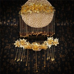 Wholesale Chinese Bridal Headdress - Gold Color Chinese Style Hair Jewelry Sets Long Tassel Hair Sticks Women Costume Headdress Ornaments Wedding Bridal Hairwear New