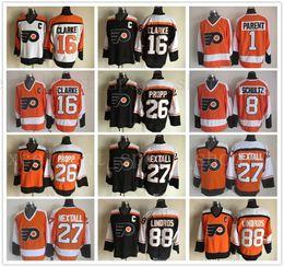 e061110e8 Vintage Philadelphia Flyers 1 Bernie Parent 8 Dave Schultz Bill Barber Ron  Hextall 88 Eric Lindros Brian Propp Bobby Clarke Hockey Jersey