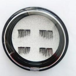 Wholesale Thick Synthetic False Eyelashes - 4Pcs set New False Eyelashes 3D New Easy Wear Double Magnet Full Strip Magnetic Lashes Eyelashes Magnetic Eye Lashes Makeup