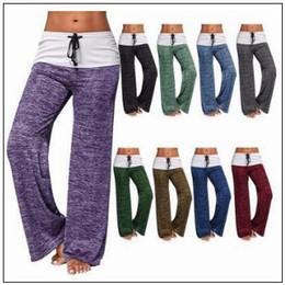 Wholesale female fitness clothes - 9 Colors Women Yoga Pants Solid Color Casual Wide Leg Pants Women Fitness Clothes Female Sports Maternity Pants CCA9765 12pcs