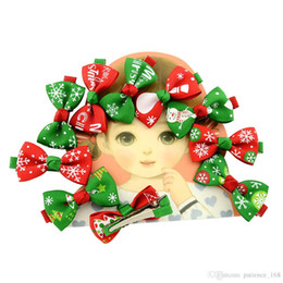 Wholesale hair clip ribbon design - 10 colors baby girl Christmas new styles Printing ribbon colorful bow barrettes Design Hair Children Headwear Kids Hairpin Girls Hair Clips