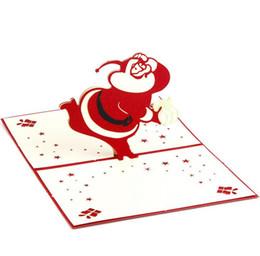Artesanato 3D cartões de Natal Papai Noel Cartão de presente de Natal Cartão de presente de Natal com envelope de Fornecedores de fada convites