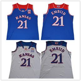 Wholesale cheap football team shirts - Kansas Jayhawks #21 Joel Embiid College Mens Throwback Basketball Team Jerseys Sports Uniforms Shirts Cheap Stitched Embroidery