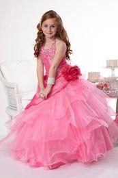 Wholesale Train Taffeta Flower Girl - Pretty Pink Taffeta Halter Beads Flower Girl Dresses Princess Dresses Girl's Pageant Dresses Custom Made Size 2-6 8 10 12 14 KF316106