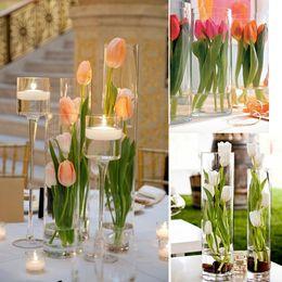 Flores artificiais de haste longa on-line-Ramo de flores 12 unidades / pacote 64 cm Tulipa Artificial Flores Única Haste Longa Bonita Simulação Flor Festa de Casamento Decoração